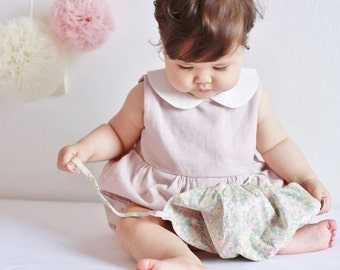 Baby Romper, Linen Romper in Dusty Pink, Baby Romper Girl, Baby Girl Outfit, Peter Pan Collar, Baby Shower, 1st Birthday, Baby Jumpsuit