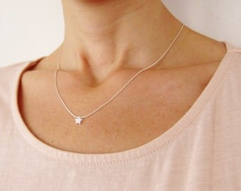 Silver Star Necklace, Silver Necklace With Tiny Star