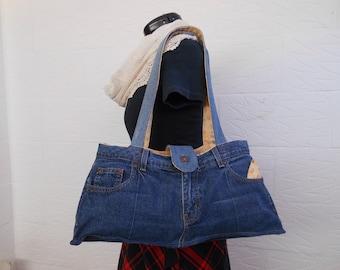 Upcycled denim jeans shoulder bag. Recycled fabric bag, eco chic bag.
