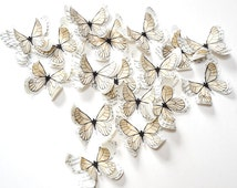 White butterflies, paper butterflies, custom wedding decor, boho wedding, romantic wedding, bridal shower decor, reception decoration