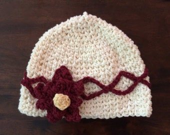 Cream Hat with Cranberry Flower for a Toddler