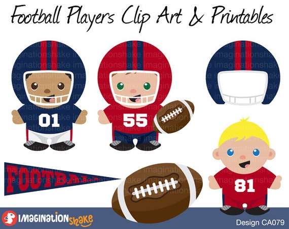 Red and Blue Football Players Clip Art & Printables Set CA079