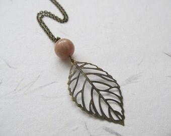 Leaf necklace, bronze pendant necklace, moonstone gemstone necklace