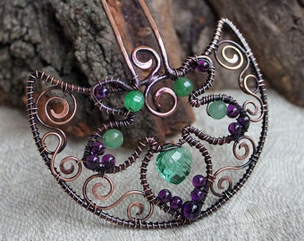 Hair fork with gemstones - Wire wrapped hair accessories - Copper hair pin - Hair moon comb