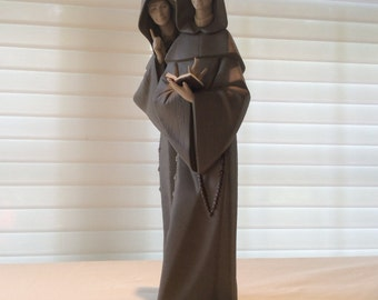 Vintage Lladro porcelain figurine monks retired religious large figurine statue porcelain monks prayer 5155
