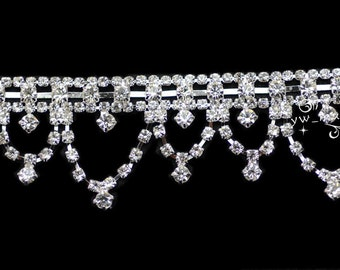 one yard costume applique rhinestone trims silver A452