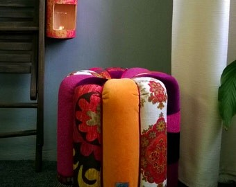 "SOLD! Bright Patchwork Pouf ""Curry"" from upcycled cardboard tubes"