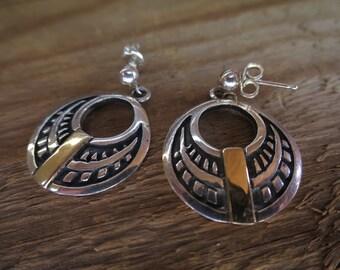 Vintage Sterling Silver and 14K Gold Hoop Post Earrings