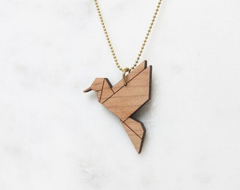 ORIGAMI Necklace (long) Hummingbird - wood -