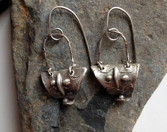 Organic Earrings, Shield Earrings, Silver Earrings, Dangle Earrings, Tribal Earrings, Primitive Earrings, Boho Earrings