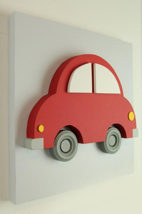 Wood Car Art : D wood car wall art for kids red by eleosstudio on etsy