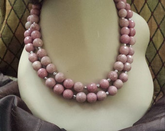 Two strand beaded faceted rhodonit necklace