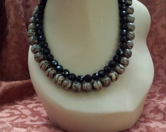 Two strand black faceted onyx and painted jasper beaded necklace