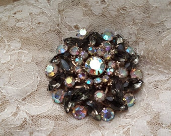 Vintage brooch smokey brown with rainbow crystal