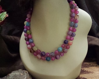 Two strand beaded faceted assorted colors of jaspers