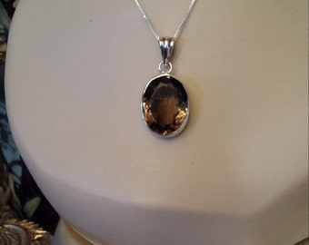 Sterling silver smokey topaz pendant with chain
