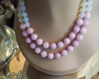 Two strand faceted lavender jade and opulite