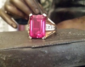 Gold 797 10k Ruby, diamond ring