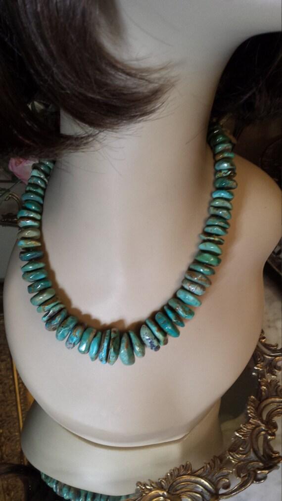 Turquoise necklace large flat round natural stone