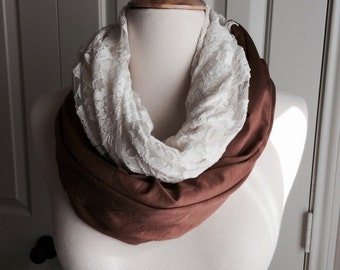 Lace infinity scarf, two tone scarf