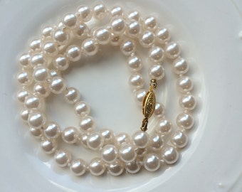 Single pearl necklace, Opera length white pearl necklace,