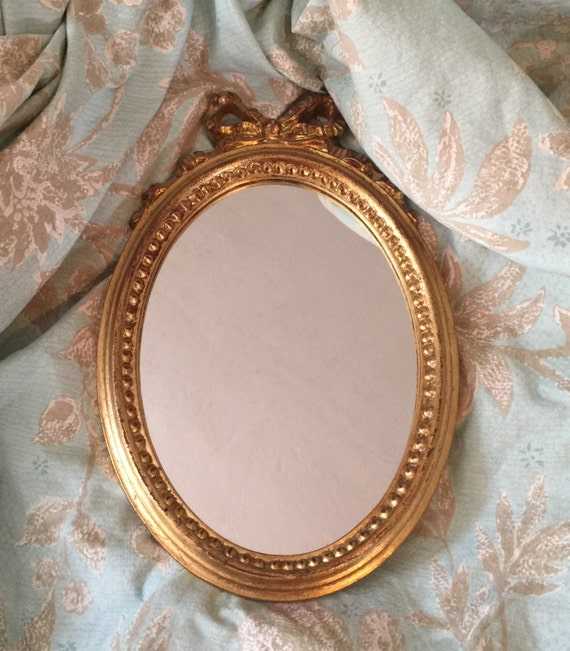Vintage small gold mirror made in italy gold bow by for Small gold mirror