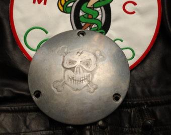 1970 harley shovel head derby cover out law biker engraved skull