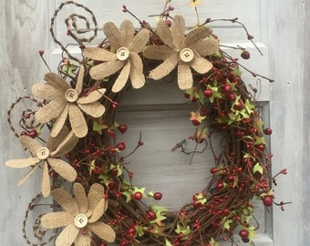 ON SALE Grapevine Wreath - Pip Berry Wreath - Burlap Wreath - Primitive Wreath with Burlap Flowers - Mother's Day -Free Shipping