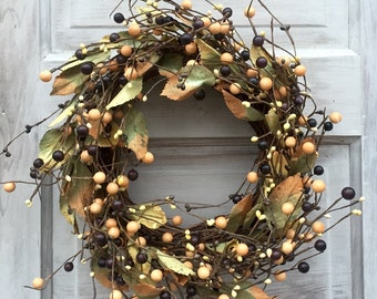 Grapevine Wreath - Pip Berry Wreath - Fall Wreath - Winter Wreath -Primitive Wreath - Candle Ring - Free Shipping