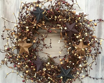 Primitive Americana Wreath with Pip Berries and Barn Stars, Grapevine Wreath, Patriotic Wreath, 4th of July Wreath,MTO,FREE SHIPPING