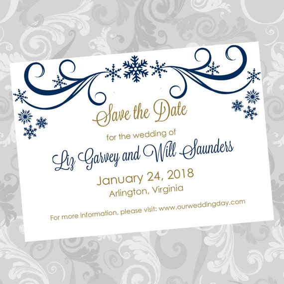 electronic save the date templates - wedding save the date diy template navy swirling snowflakes