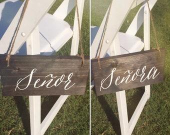 Senor & Senora Rustic Wooden Signs Hand Painted