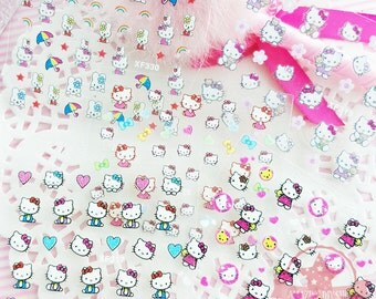 Set of  5 Hello Kitty Nail Art Stickers Mixed Design With Popular Character Nail Sticker - N11b