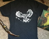 The Owls are Not what they Seems. Twin Peaks tribute dude shirt. Hand printed. Orgsnic & Eco-friendly. Great for yoga!