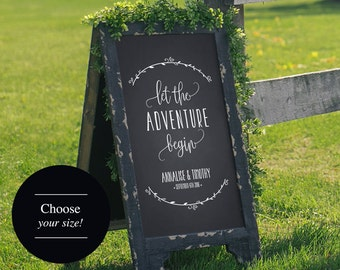 Wedding Welcome Sign, Wedding Sign, Let the Adventure Begin, Welcome to our Wedding Sign, Wedding Printable, PDF Instant Download #BPB250