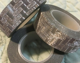 Silver Geometric Glitter Washi Tape - High Quality Adhesive Tape For Added Sparkle