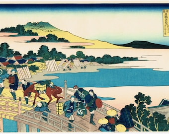 "Japanese Ukiyo-e Woodblock print, Hokusai, ""Fukui Bridge in Echizen Province """