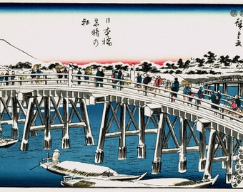 "Japanese Ukiyoe, Woodblock print, antique, Hiroshige, ""Nihonbashi on a Clear Snowy Morning"""