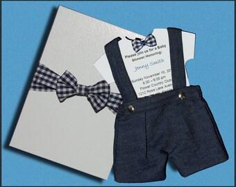 Bow Tie Onsie Baby Shower Invitation, Adorable, Unique Design Includes Box Boy Sip & See