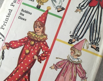 Vintage Clown Costume Pattern, Simplicity 6198