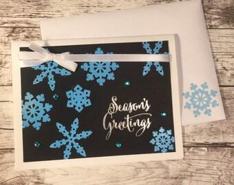Seasons Greeting Card and Envelope - homemade, snowflakes