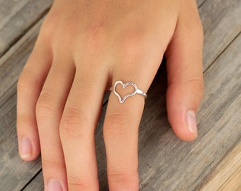 Fine Silver Heart Ring, Love Ring