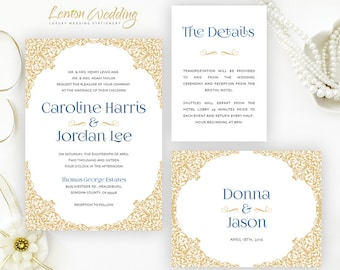Gold And Navy Blue Wedding Invitations + RSVP + Inclosure Cards | Victorian  Wedding Invitations |
