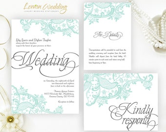 Mint green lace wedding Invitation printed on shimmer cardstock | Calligraphy wedding invitation kits | Discount wedding sets