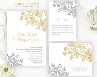Silver and gold wedding Invitation kits printed on pearlescent cardstock | Personalized wedding invites | Elegant wedding invitation kits