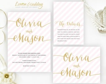 Pink and gold wedding invitation sets printed on shimmer cardstock | Elegant striped wedding Invitations