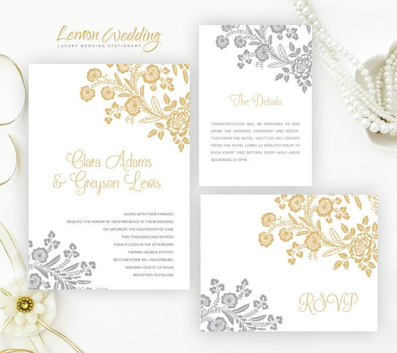 Silver And Gold Wedding Invitation Kits Printed On Pearlescent