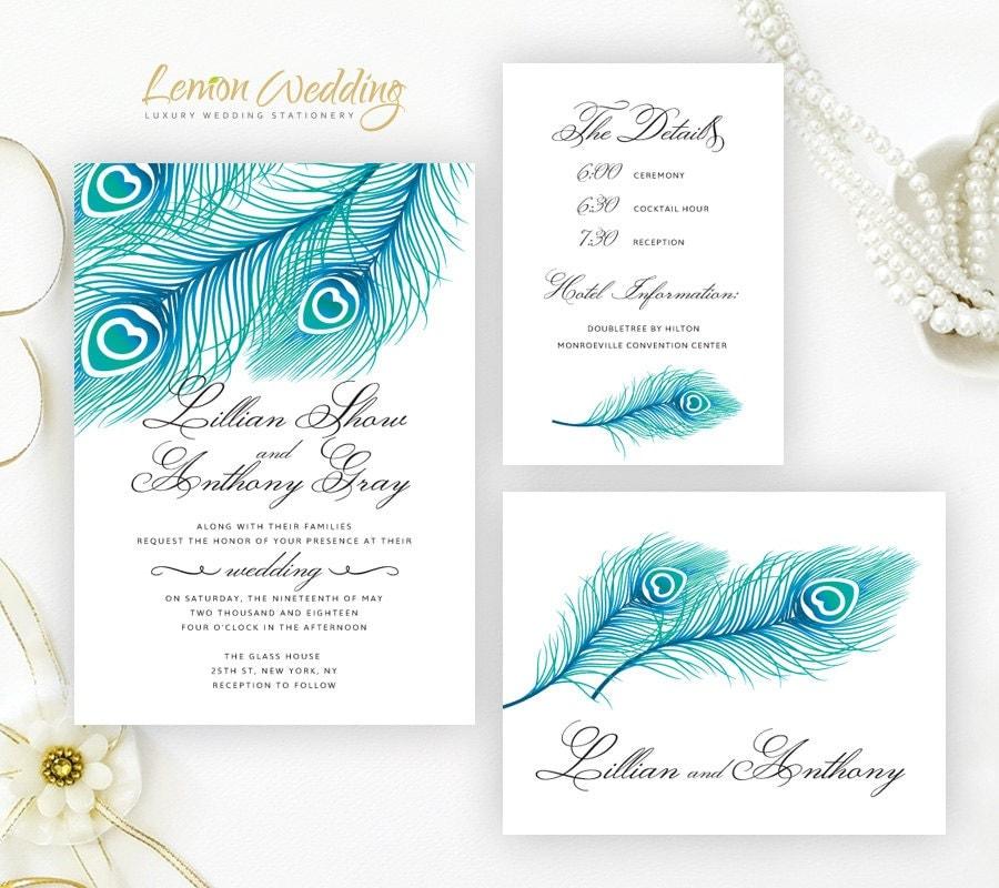 Peacock Wedding Invitations: Blue Peacock Wedding Invitation Kits Printed On Shimmer