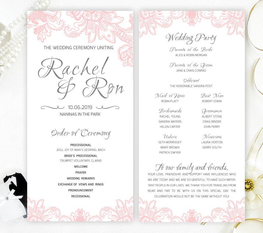 Pink Lace Wedding Programs Printed On Shimmer Card Stock