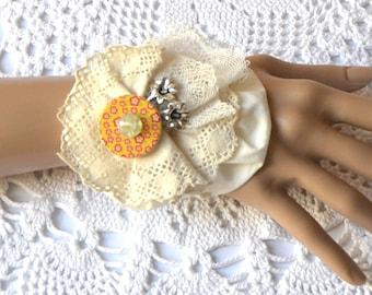 Valentine Day gift, cuff,barcelet,textile juwelery,textile art